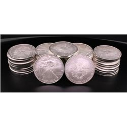 BULLION: (45) 2010 US Eagle 1 dollar silver coins; 999 AG; 1 ounce size