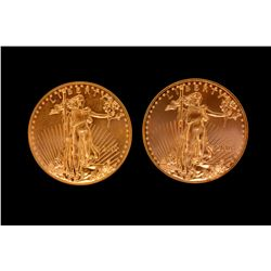 BULLION: (2) 2010 US Eagle 50 dollar gold coins; 999 AU; 1 ounce size.