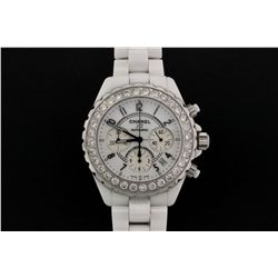 WATCH: Large white ceramic and st. steel Chanel J12 chronograph wristwatch