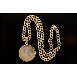JEWELRY: US silver dollar coin pendant and chain