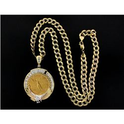 JEWELRY: Mexican 50 pesos Centenario gold coin pendant on 10k yellow gold chain