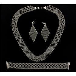 NECKLACE, BRACELET, EARRING SET: Platinum 950 open mesh design matching set