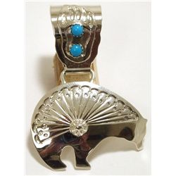 Old Pawn Navajo Turquoise Sterling Silver Bear Pendant - Running Bear