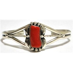 Navajo Coral Sterling Silver Cuff Bracelet - Mary Ann Spencer