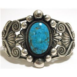 Old Pawn Navajo Spider Web Kingman Turquoise Sterling Silver Cuff Bracelet - JM