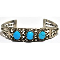Old Pawn Turquoise SMALL Sterling Silver Cuff Bracelet