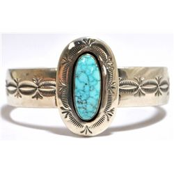 Old Pawn Navajo Spider Web #8 Turquoise Sterling Silver Cuff Bracelet - Francis