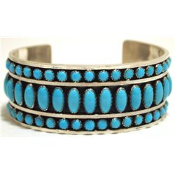 Navajo Turquoise Sterling Silver Cuff Bracelet - Daniel Mike