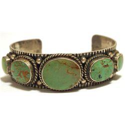 Old Pawn Navajo Green Turquoise Sterling Silver Cuff Bracelet - MR