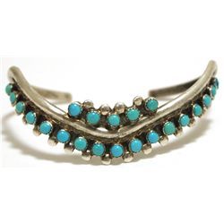 Old Pawn Navajo Turquoise Sterling Silver V-Shaped Cuff Bracelet