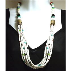 Navajo Howlite & Multi-Stone 6-Strand Necklace - Tommy Singer