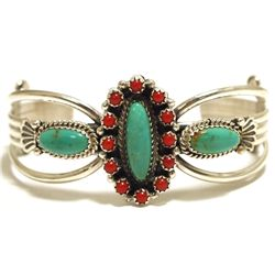 Old Pawn Navajo Coral & Turquoise Sterling Silver Cuff Bracelet - MC