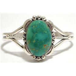 Navajo Lone Mountain Turquoise Sterling Silver Cuff Bracelet - Mary Ann Spencer