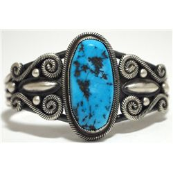 Old Pawn Navajo Sleeping Beauty Turquoise Sterling Silver Cuff Bracelet - Sean M?