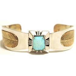 Dead Pawn Navajo Turquoise & 12k Gold Fill Sterling Silver Feather Cuff Bracelet - CB
