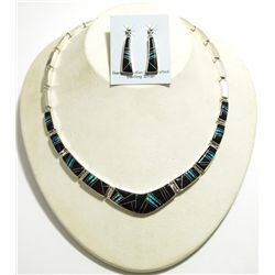 Navajo Black Jet & Opal Inlay Sterling Silver Link Necklace & Earrings Set - Calvin Begay