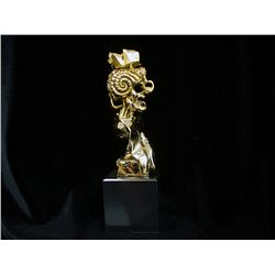 Dali Limited Edition   Gold Layered Bronze  Sculpture - Portrait Of Picasso