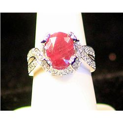 Fancy Ladies 14k Ruby & Diamond Ring J505