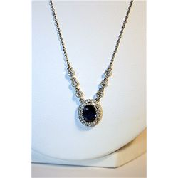 Ladies 14K White Gold Diamond/Blue Sapphire Pendant