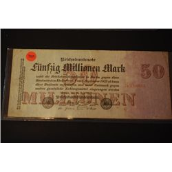 1923 German 50 Funfzig Millionen Mark Foreign Bank Note; EST. $2-5