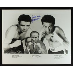 "Jake LaMotta Signed 16x20 Photo: Inscribed ""Raging Bull"" (GA COA)"