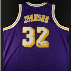 Magic Johnson Signed Lakers Jersey (GA COA)