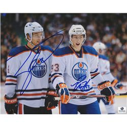 Ryan Nugent-Hopkins & Taylor Hall Signed Oilers 8x10 Photo (GA COA)