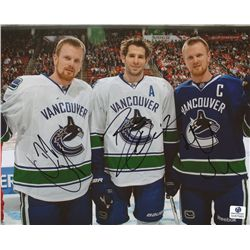 Ryan Kesler, Daniel Sedin & Henrik Sedin Signed Canucks 8x10 Photo (GA COA)