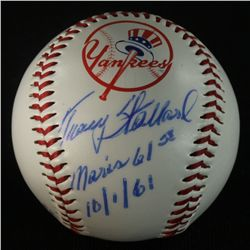 "Tracy Stallard Signed Yankees Logo Baseball: Inscribed ""Maris 61st"" & ""10/1/61"" (PA LOA)"