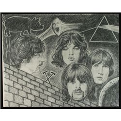 Pink Floyd 16x20 Charcoal Drawing Art Lithograph