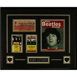 "John Lennon of ""The Beatles"" 16x20 Custom Display Piece with Signed Check Copy"