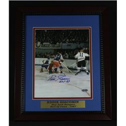 "Eddie Giacomin Signed Rangers 13x16 Custom Framed Piece: Inscribed ""HOF 87"" (Steiner COA)"