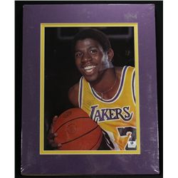 Magic Johnson Signed Lakers Custom Matted 8x10 Photo (GA COA)