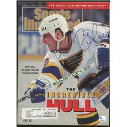 Brett Hull Signed Blues Sports Illustrated Magazine (GA COA)