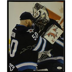 Chris Mason & Ondrej Pavelec Signed Jets 11x14 Photo (JSA COA)