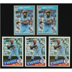 Lot of (5) Kirby Puckett RCs Including (3) Topps & (2) Fleer