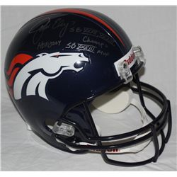 John Elway Signed Full-Size Broncos Helmet: Multiple Inscriptions (Elway Hologram)