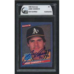 "Jose Canseco Signed Baseball Card: Inscribed ""ROY 86"" (GAI Encapsulated)"