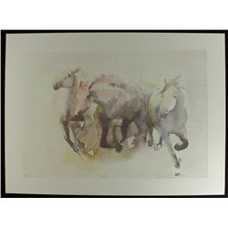Horses 26x19 LE Lithograph by Beatrice Bulteau #35/500: Retail $800 (PA LOA)