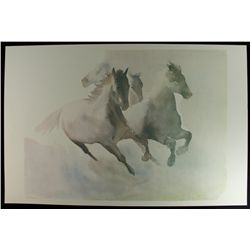 Horses 35x23 LE Lithograph by Beatrice Bulteau #367/500: Retail $800 (PA LOA)