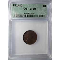 1914-D LINCOLN WHEAT CENT ICG VF25