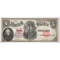 1907  $5 woodchopper  U S Note  XF lite stain lower