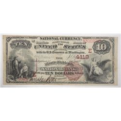 A VERY RARE 1882 $10 NATIONAL  NOTE the Atlantic Highlands Bank NJ  BROWN BACK