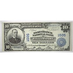 1902  $10 National Currency West Branch National Bank Williamsport PA XF/AU