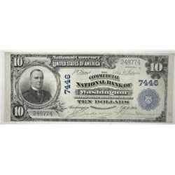 1902  $10 National Currency  Commercial District of Columbia  XF