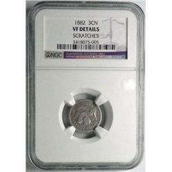1882  3 ct nickel  NGC VF scratches