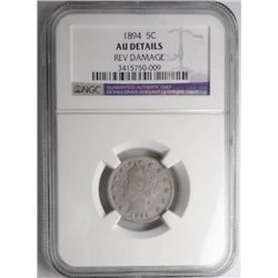 1894  V nickel  NGC AU rev dmg