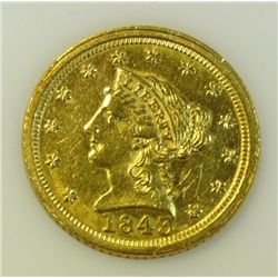 1843 C $2 1/2 gold     large dt   XF