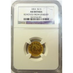 1853 $2 1/2  Gold  NGC AU   removed from jewelry