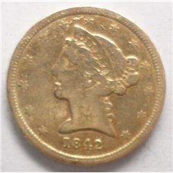 1842O  $5 gold  VF somewhat rough surface